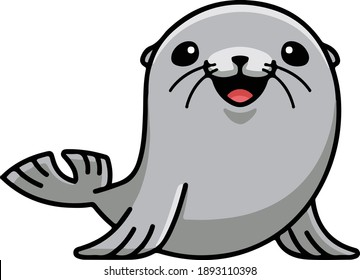 Funny Cute Sea Seal Vector Illustration