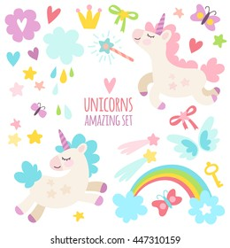 Funny cute set of wonderful magical elements with unicorns and butterflies. Fairy goods in flat style.