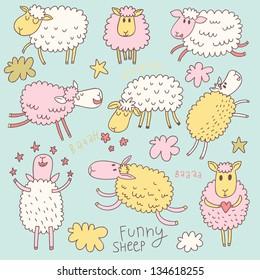 Funny cute sheep. Cartoon vector set in pastel colors.
