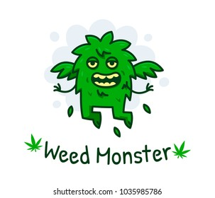 Funny and cute silly weed monster. Great as logo, badge, illustration, clipart, sticker, etc... 100% vector layered