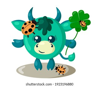 Funny cute smiling bull or cow with round body and ladybugs holding four-leaf good luck clover in flat design with shadows. Isolated animal vector illustration