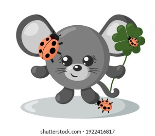 Funny cute smiling mouse with round body and ladybugs holding four leaf good luck clover in flat design with shadows. Isolated animal vector illustration