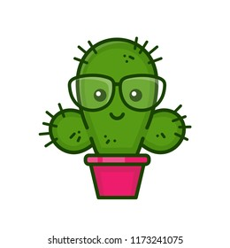 Funny cute smiling smart cactus on glasses. Vector modern style flat line character cartoon illustration icon logo template design. Isolated on white background.Cactus concept