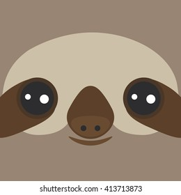 funny and cute smiling Three-toed sloth on brown background. Vector
