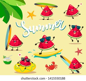 Funny and cute summer watermelons in a cartoon style kawaii, perfect for prints of children's clothing, stickers, decor and the web. Vector isolates of watermelons in different movements