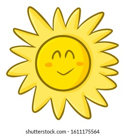 Funny and cute sun smiling happily