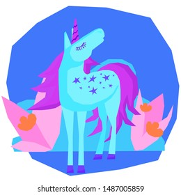 Funny cute unicorn. Handmade little unicorn for design childish party advertising, kid bedroom wall, birthday gift card, bag print, school wallpaper, chaldish craft workshop poster etc.