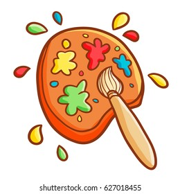 Funny and cute watercolor brush and palette - vector.