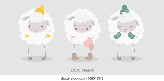 Funny cute white sheep wearing knitted cap and cozy mittens. Children vector illustration. Set of graphic elements for kids. Cartoon hand drawn style. Wrapping, package, textile design.
