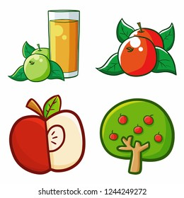 Funny and cute yummy red apple set - vector.