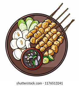 "Funny and cute yummy ""Sate Klathak"", a traditional chiken satay from Yogyakarta, Indonesia - vector"