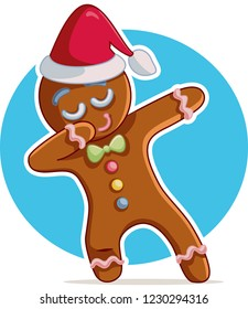 Funny Dabbing Gingerbread Man Vector Cartoon. Funny winter character dancing celebrating holidays