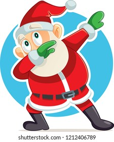Funny Dabbing Santa Claus Vector Cartoon. Cool modern Santa dancing having fun