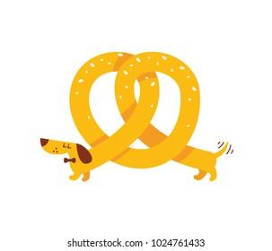 Funny Dachshund pretzel Dog.  Simple to edit - CMYK ready to print - great as food mascot, logo design, t-shirt design, etc... 100% vector