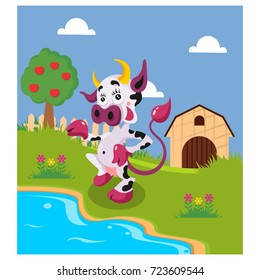 funny dairy cows standing on river side in the backyard cartoon character