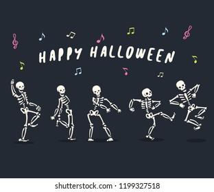 Funny dancing cartoon skeleton illustration