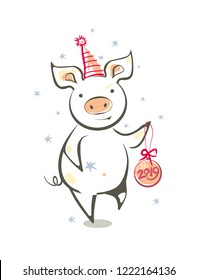 Funny dancing pig and Christmas ball. Colorful vector illustration in sketch style. New 2019 Chinese year of the pig. Festive cartoon pig.