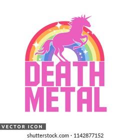 Funny Death Metal Unicorn Design