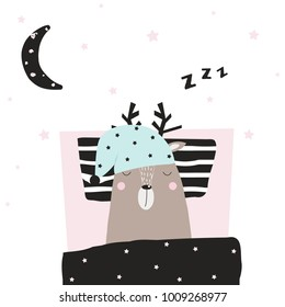 Funny deer asleep in his bed. Vector hand drawn illustration.