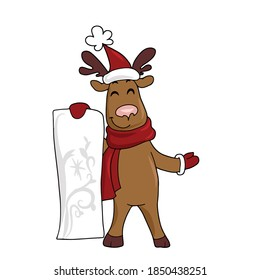 A funny deer in a scarf and hat holds a list . Vector children's sticker design on white isolated background.For banners and postcards..