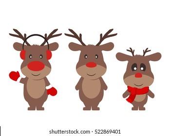 funny deers set, vector. Christmas characters