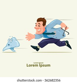 funny dentist running, cartoon character, tooth character, vector illustration, isolated background