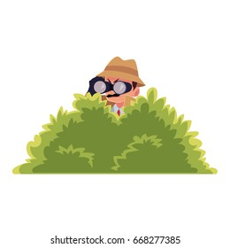 Funny detective character looking through binoculars from bush, spying, cartoon vector illustration isolated on white background. Full length portrait of funny detective character at surveillance work