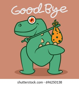 Funny Dino Says Good Bye