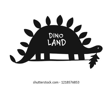 Funny dinosaur, black silhouette, childish style for your design