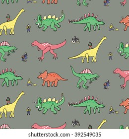 funny dinosaur color pattern with people