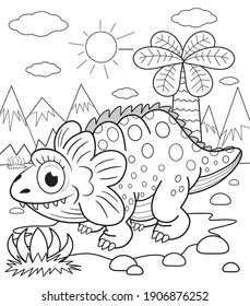 Funny dinosaur coloring book for kids