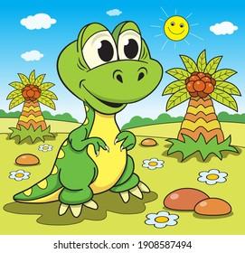 Funny dinosaur on the background of wildlife