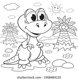 Funny dinosaur with palms coloring book for children