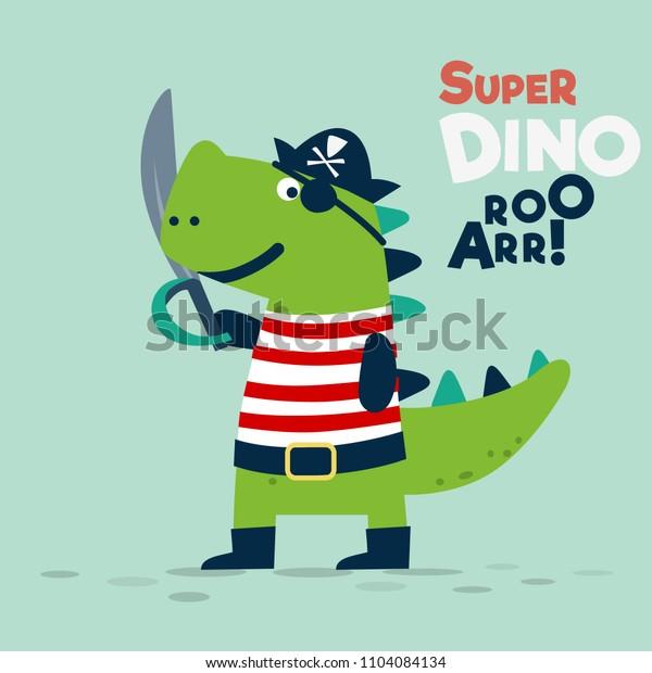 Funny dinosaur in pirate costume