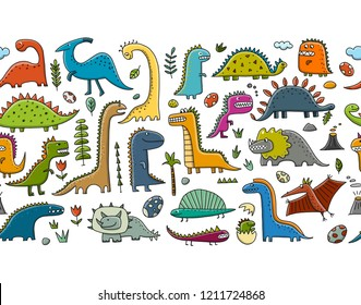 Funny dinosaurs, childish style. Seamless pattern for your design
