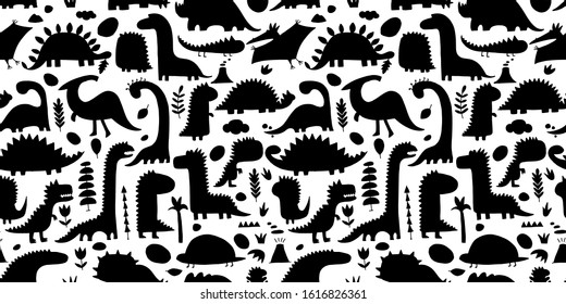Funny dinosaurs, childish style. Seamless pattern for your design. Vector illustration