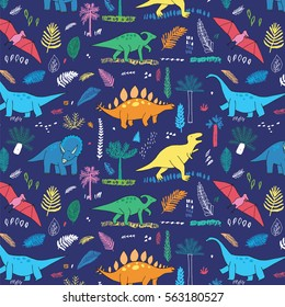 funny dinosaurs with palm leaves pattern