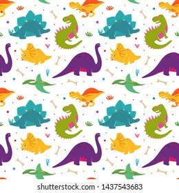 Funny dinosaurs seamles pattern. Jurassic period dinosaur print in hand drawn style.  Cute dinosaurs character for kids illustration, cover, pattern, print for fabric. Dino print
