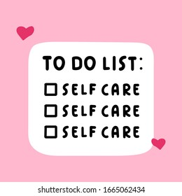 Funny to do list for girls about selfcare. Vector illustration design on pink background.