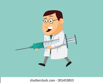 Funny doctor carries injection for patients. Penicillin. Vaccination. Simple vector illustration.
