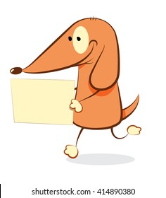 Funny Dog bringing a blank sign - a vector illustration representing a friendly cartoon dog walking on two legs and bringing a blank sign with copy space in his hands, isolated on white background
