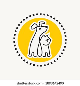 Funny dog and cat sitting together line drawing emblem