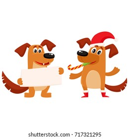 Funny dog characters, one in Christmas hat, another holding blank board for greeting, cartoon vector illustration isolated on white background. Couple of funny dog characters, Christmas celebration