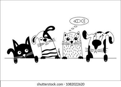 Funny dog and cute cat best friends. Black and white doodle animals.  Vector illustration.