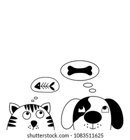 Funny dog and cute cat best friends. Vector illustration.