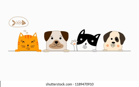 Funny dog and cute cat best friends. Happy friendship day. Wrld animal day.  Vector illustration.