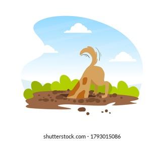 Funny Dog Digging Deep Hole in Garden, Beautiful Summer Landscape Flat Vector Illustration