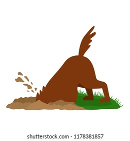 A funny dog digs a big pit in the sand. flat vector illustration isolated on white background