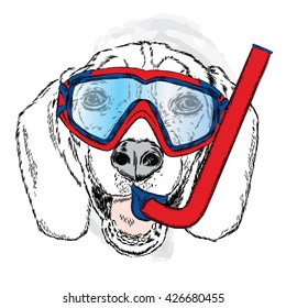 Funny dog with a mask and snorkel diving. Vector illustration for greeting card, poster, or print on clothes. Funny dog.