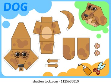 Funny Dog paper model. Small home craft project, DIY paper game. Cut out, fold and glue. Cutouts for children. Vector template.